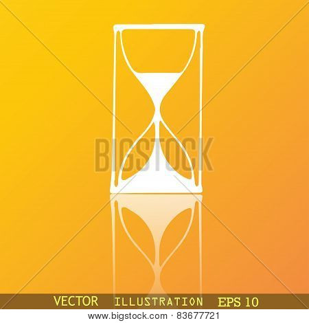 Hourglass Icon Symbol Flat Modern Web Design With Reflection And Space For Your Text. Vector
