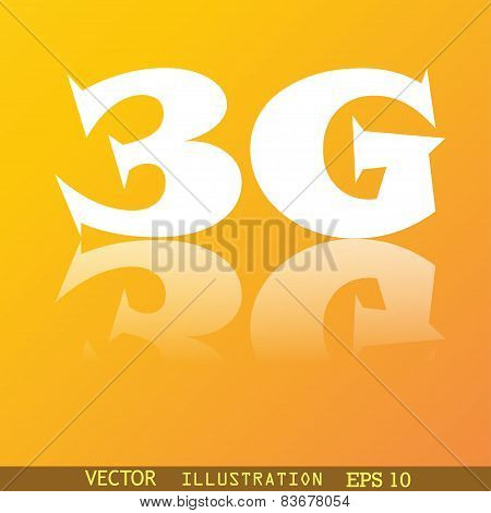 3G Icon Symbol Flat Modern Web Design With Reflection And Space For Your Text. Vector