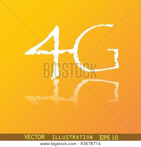 4G Icon Symbol Flat Modern Web Design With Reflection And Space For Your Text. Vector