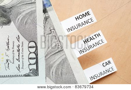 Papers with words Health, car, home insurance and money.