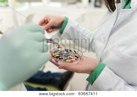 Closeup Shot Of Dental Impression With Pins