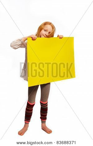 Girl Holds Up A Sign