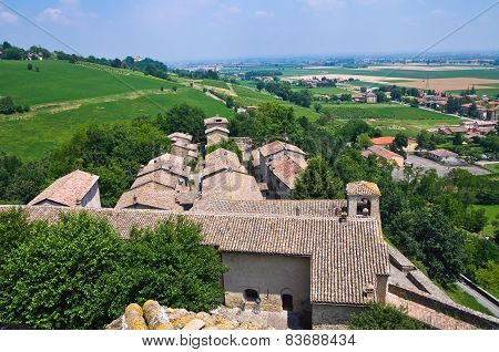 Panoramic view of Torrechiara. Emilia Romagna. Italy.
