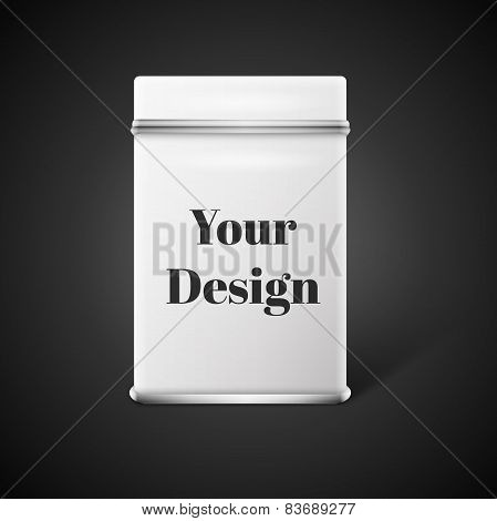 Vector object. White square tin packaging. Tea, coffee, dry products