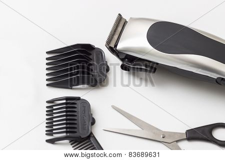 Barber Accessories On White Table