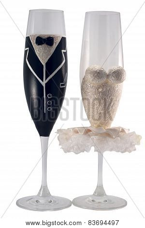 Glasses bride and groom