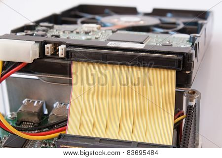Closeup Ide Harddisk Isolated On White Background