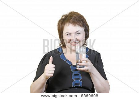 Elderly Woman With A Glass Of Water