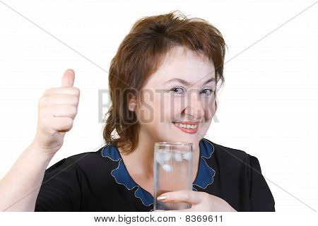 An Elderly Woman Holding A Glass Of Cold Water