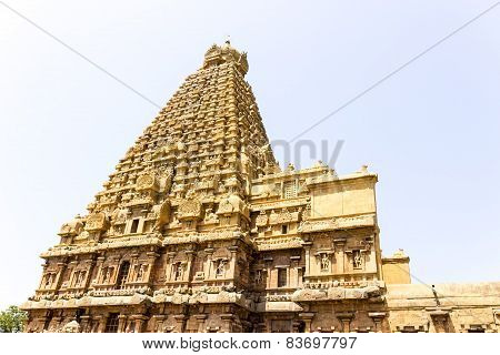 The magnificent Chief deity gopuram or tower of Brahadeewarar temple, Thanjavur