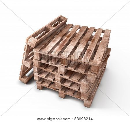 Stack Of Wooden Pallets Isolated On White Background