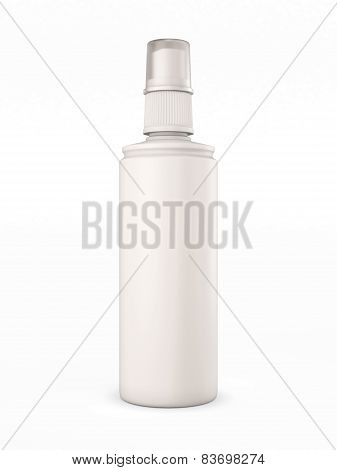 White Plastic Bottle With Spray On White Background