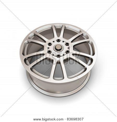 Alloy Wheel Rim On A White