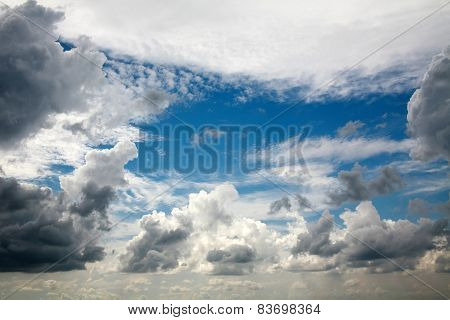 Beautiful Dreamy Scene Of Air Clouds On Blue Sky Background, Beauty In Nature
