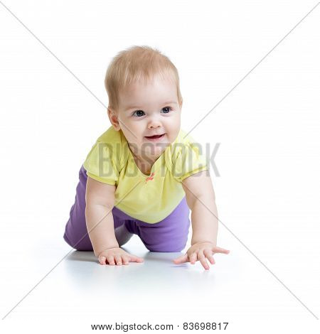 pretty crawling baby isolated on white