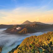 picture of bromo  - Bromo Mountain in Tengger Semeru National Park at sunrise East Java Indonesia - JPG