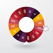 picture of color wheel  - wheel of fortune with the pointer in pastel colors - JPG