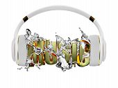 picture of exclusive  - white with gold decor exclusive headphones for music - JPG