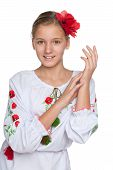 image of preteen  - A cheerful preteen Ukrainian girl against the white background - JPG