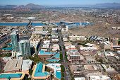 stock photo of piestewa  - Downtown Tempe Arizona from above looking north up Mill Avenue - JPG