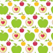 Постер, плакат: Seamless Pattern With Green Red And Yellow Apples