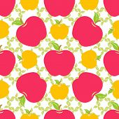 Постер, плакат: Seamless Pattern With Red And Yellow Apples