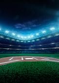 foto of arena  - Professional baseball grand arena in the night - JPG