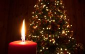 picture of candle flame  - Red candle flame in front of a Christmas tree - JPG