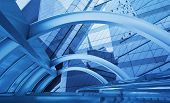 stock photo of bridge  - Abstract blue modern tower and bridge city background - JPG