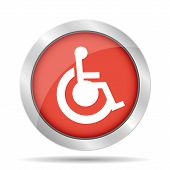 pic of handicap  - Handicap Flat red Simple Icon isolated on white background - JPG