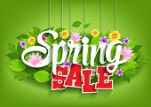 stock photo of special day  - Spring Sale Word Hanging on Leaves with Strings - JPG