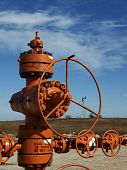 picture of shale  - Orange well head in north Texas shows the horizontal shale gas well is waiting to get high pressure fracturing and perforated - JPG