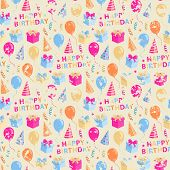 image of birthday hat  - Vector seamless grunge  pattern on the topic Happy Birthday with gift - JPG