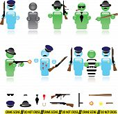 picture of gun shot wound  - Set of icons representing mafia and police wars - JPG