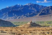 image of jammu kashmir  - Aerial view of Leh City landscape with ice peaks blue sky in background Ladakh Jammu and Kashmir India - JPG