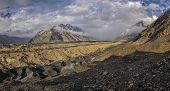 picture of shan  - Scenic panorama of Engilchek glacier in picturesque Tian Shan mountain range in Kyrgyzstan - JPG