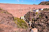picture of dam  - Artificial Lake Water Dam in the Canary Islands Gran Canaria - JPG