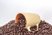 stock photo of pot roast  - ceramic orange mug on a pile of roasted coffee beans - JPG