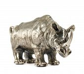 stock photo of metal sculpture  - Rhinoceros rhino sculpture made of cast metal isolated over white background - JPG