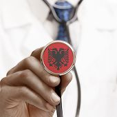 foto of albania  - Stethoscope with national flag conceptual series  - JPG