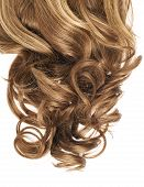 foto of strawberry blonde  - Curly hair fragment placed over the white background as a copyspace backdrop composition - JPG