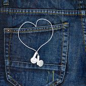 picture of denim jeans  - Pair of white ear - JPG