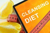stock photo of cleanse  - Cleansing  diet on tablet - JPG