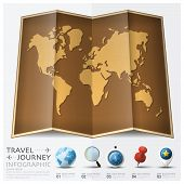 picture of passport template  - Travel And Journey World Map With Point Mark Infographic Background Design Template - JPG