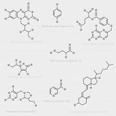 picture of nutrients  - Skeletal formulas of some vitamins - JPG