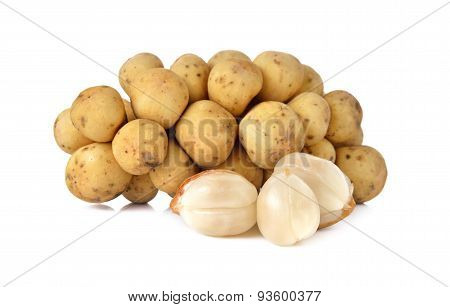 Long Kong Or Long Gong Fruit On White Background