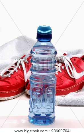 Red Shoes And Warer Bottle