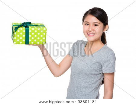 Asian girl hold with gift box