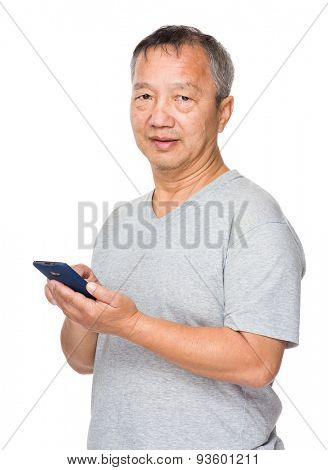 Asian man use of cellphone