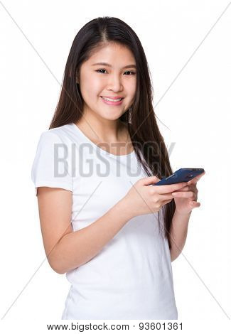 Asian woman hold with cellphone